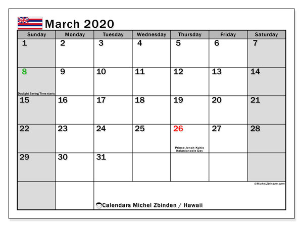 March 2020 Calendar, with the Hawaii holidays. Free printable calendar with public holidays.
