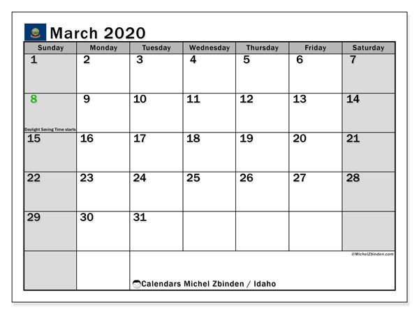 March 2020 Calendar, with the holidays of Idaho. Free printable calendar with public holidays.