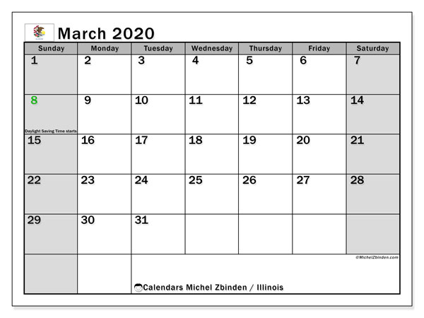 March 2020 Calendar, with the holidays of Illinois. Free printable calendar with public holidays.