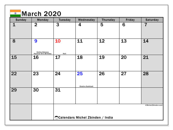 March 2020 Calendar, with the holidays of India. Holidays calendar to print free.