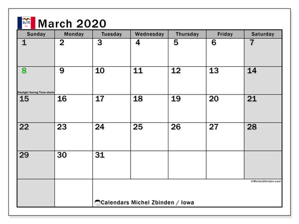 March 2020 Calendar, with the holidays of Iowa. Free printable calendar with public holidays.