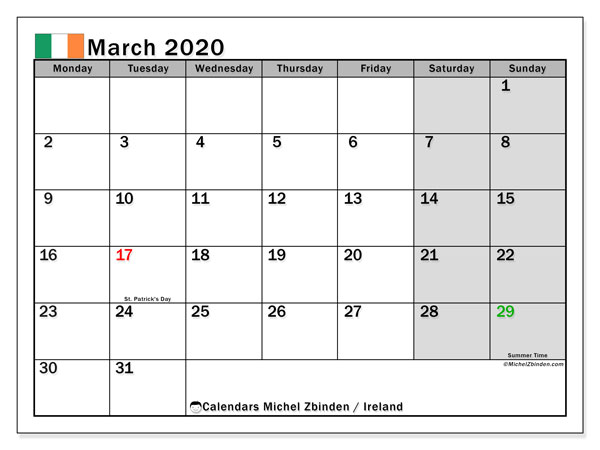 Calendar March 2020, with the holidays of Ireland. Free printable monthly calendar.