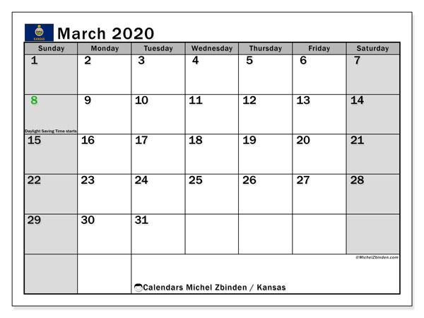 March 2020 Calendar, with the holidays of Kansas. Holidays calendar to print free.