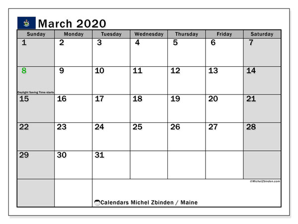 March 2020 Calendar, with the holidays of Maine. Free printable calendar with public holidays.