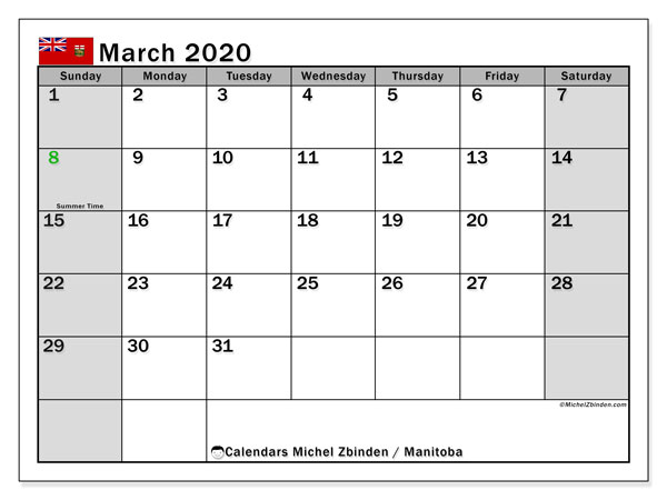 March 2020 Calendar, with the holidays of Manitoba. Holidays calendar to print free.