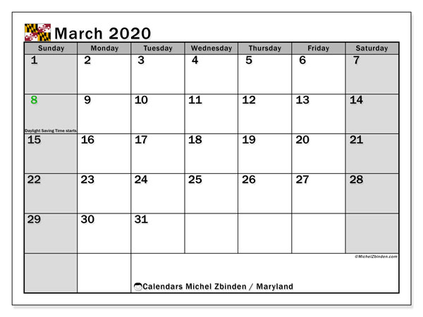 March 2020 Calendar, with the holidays of Maryland. Free printable calendar with public holidays.