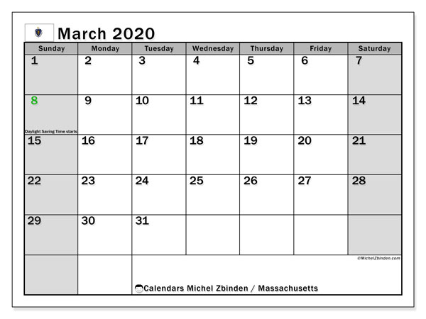 March 2020 Calendar, with the holidays of Massachusetts. Holidays calendar to print free.
