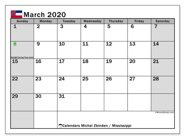 Calendar March 2020 - Mississippi. Public Holidays. Monthly Calendar and free printable timetable.