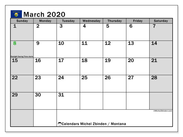 March 2020 Calendar, with the holidays of Montana. Free printable calendar with public holidays.