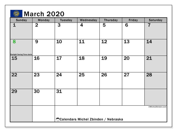 March 2020 Calendar, with the holidays of Nebraska. Free printable calendar with public holidays.