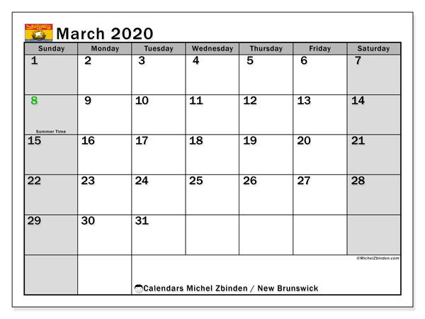 Calendar March 2020 - New Brunswick. Public Holidays. Monthly Calendar and free printable planner.