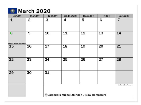 March 2020 Calendar, with the holidays of New Hampshire. Free printable calendar with public holidays.
