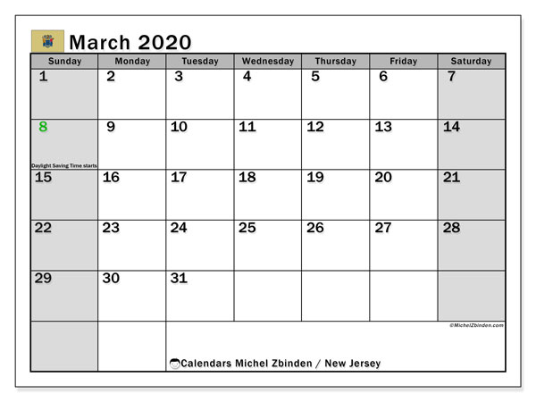 March 2020 Calendar, with the holidays of New Jersey. Free printable calendar with public holidays.