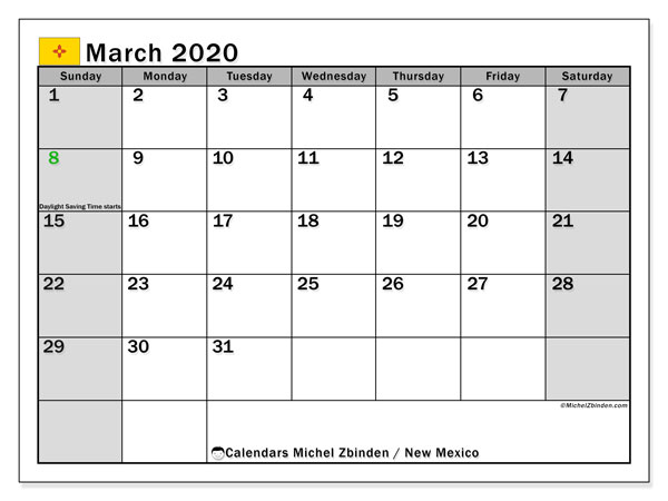 March 2020 Calendar, with the holidays of New Mexico. Free printable calendar with public holidays.