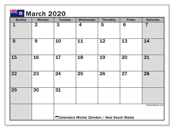 March 2020 Calendar, with the holidays of New South Wales. Holidays calendar to print free.