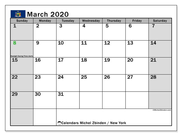 New York Public Holidays 2020 March 2020 Calendar, New York(USA)   Michel Zbinden EN
