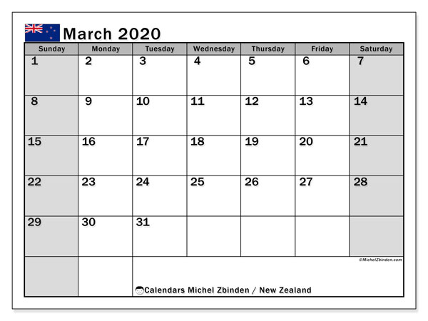 Calendar March 2020, with the holidays of New Zealand. Planner to print free.