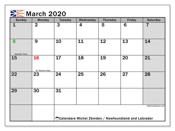 March 2020 Calendar, with the holidays of Newfoundland and Labrador. Free printable calendar with public holidays.