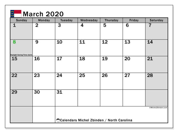 March 2020 Calendar, with the holidays of North Carolina. Free printable calendar with public holidays.