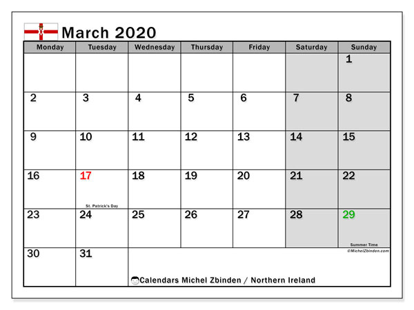 Calendar Northern Ireland, March 2020