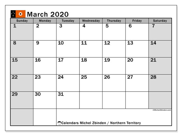 Calendar March 2020 - Northern Territory. Public Holidays. Monthly Calendar and bullet journal to print free.