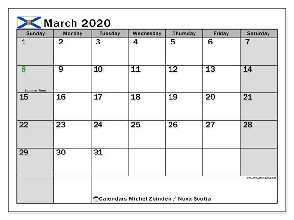 March 2020 Calendar, with the holidays of Nova Scotia. Holidays calendar to print free.