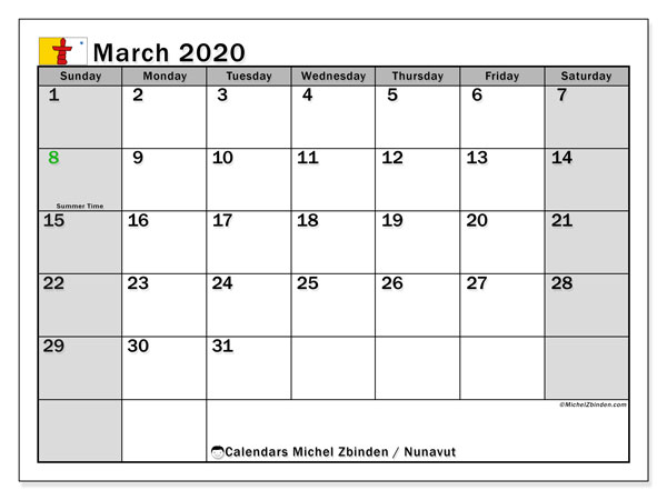 March 2020 Calendar, with the holidays of Nunavut. Holidays calendar to print free.