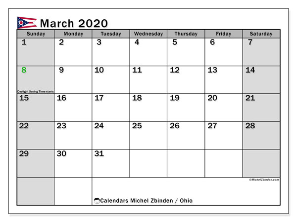 March 2020 Calendar, with the holidays of Ohio. Free printable calendar with public holidays.