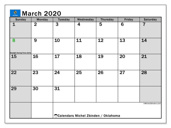March 2020 Calendar, with the holidays of Oklahoma. Free printable calendar with public holidays.