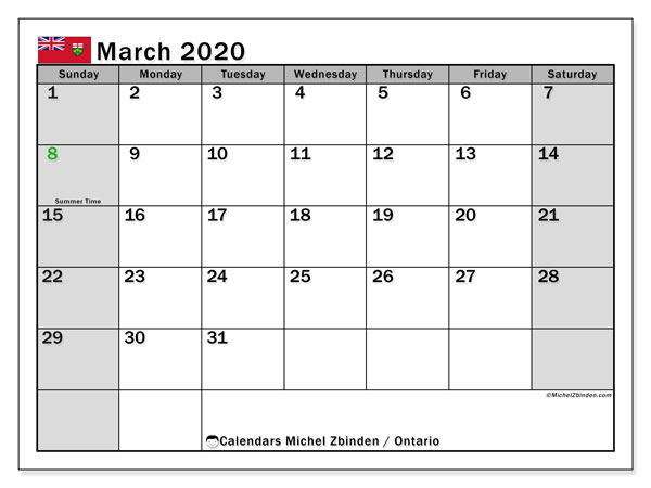 March 2020 Calendar, with the holidays of Ontario. Holidays calendar to print free.