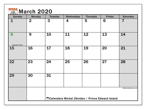 March 2020 Calendar, with the holidays of Prince Edward Island. Holidays calendar to print free.
