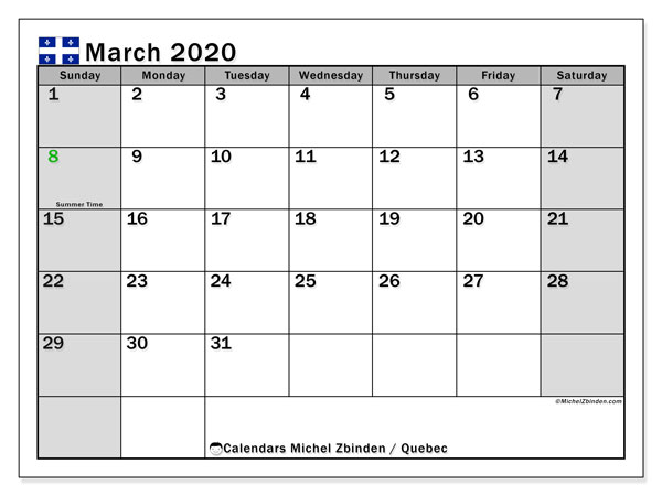 March 2020 Calendar, with the holidays of Quebec. Holidays calendar to print free.