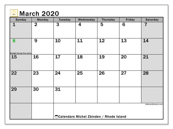 March 2020 Calendar, with the holidays of Rhode Island. Free printable calendar with public holidays.