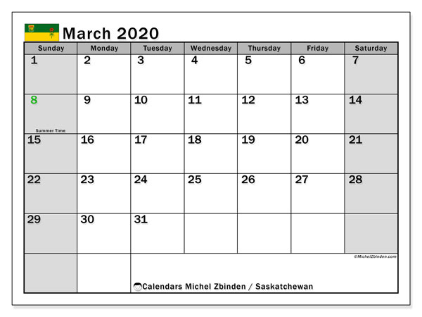 March 2020 Calendar, with the holidays of Saskatchewan. Holidays calendar to print free.