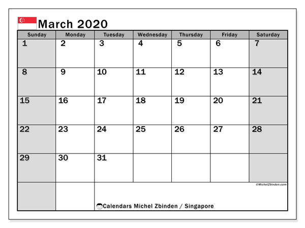 March 2020 Calendar, with the holidays of Singapore. Free printable calendar with public holidays.