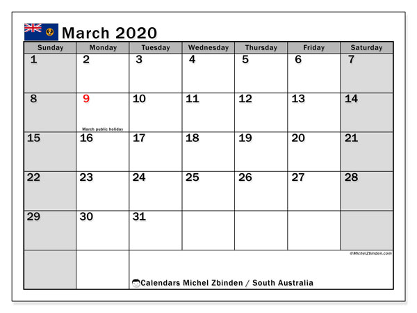March 2020 Calendar, with the holidays of South Australia. Holidays calendar to print free.