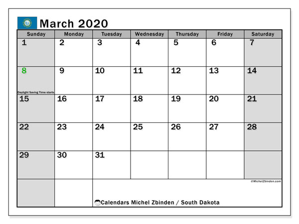 March 2020 Calendar, with the holidays of South Dakota. Free printable calendar with public holidays.