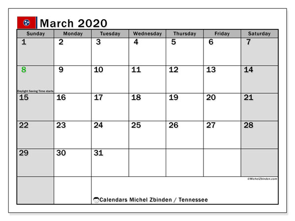 March 2020 Calendar, with the holidays of Tennessee. Free printable calendar with public holidays.