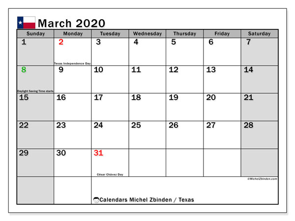 March 2020 Calendar, with the holidays of Texas. Free printable calendar with public holidays.