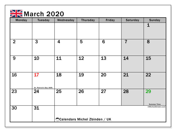 Calendar March 2020 - UK. Public Holidays. Monthly Calendar and free planner to print.