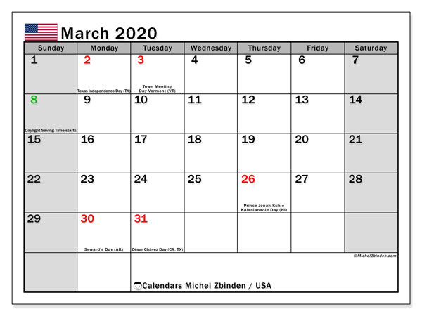 Printable calendars, March 2020, Public Holidays