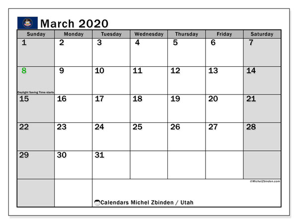 March 2020 Calendar, with the holidays of Utah. Holidays calendar to print free.