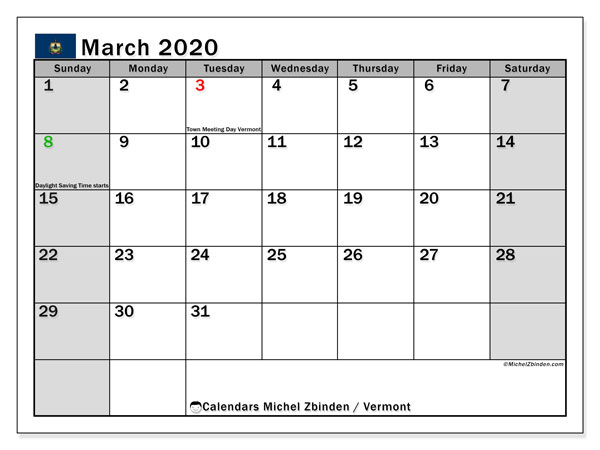 March 2020 Calendar, with the holidays of Vermont. Holidays calendar to print free.