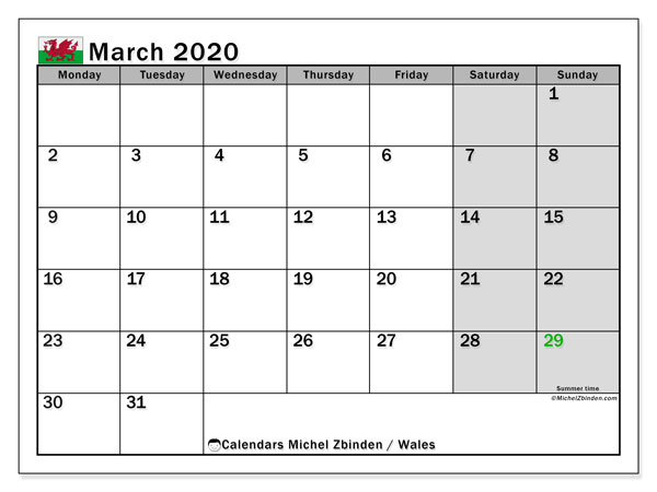 Calendar March 2020 - Wales. Public Holidays. Monthly Calendar and free timetable to print.