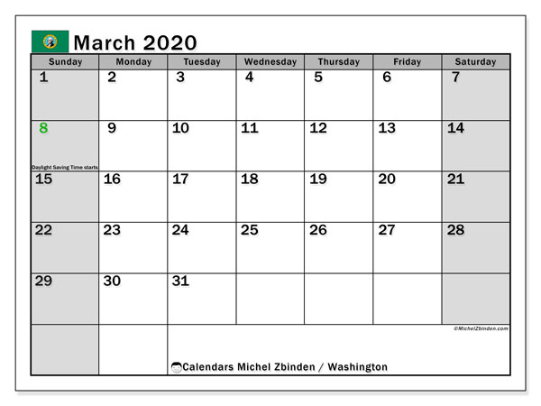 March 2020 Calendar, with the holidays of Washington. Free printable calendar with public holidays.