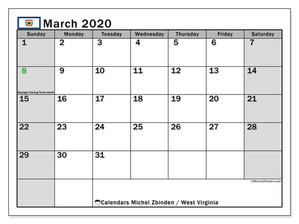 Calendar March 2020 - West Virginia. Public Holidays. Monthly Calendar and free printable timetable.
