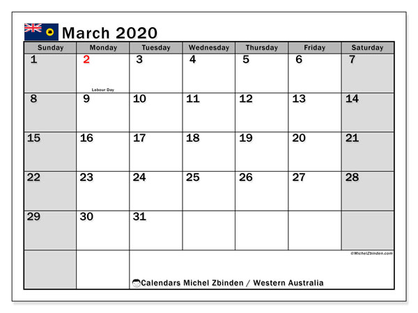 Calendar March 2020 - Western Australia. Public Holidays. Monthly Calendar and free agenda to print.