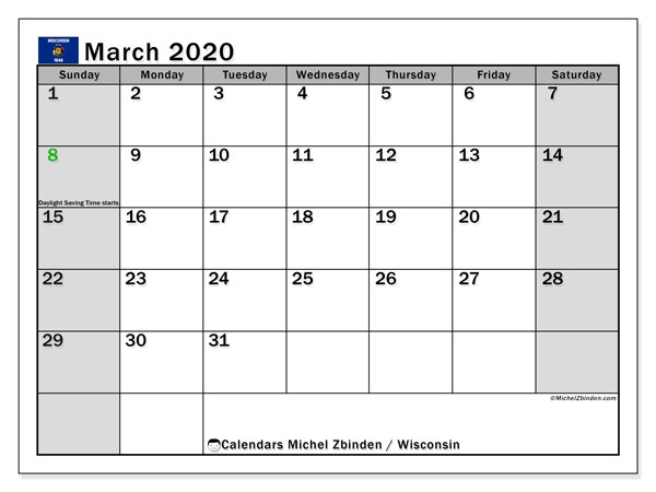 March 2020 Calendar, with the holidays of Wisconsin. Free printable calendar with public holidays.