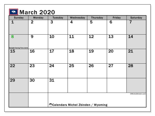 March 2020 Calendar, with the holidays of Wyoming. Free printable calendar with public holidays.