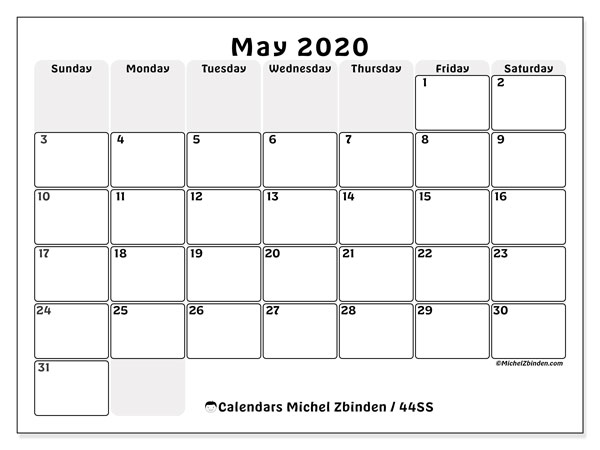 May 2020 Calendar, 44SS. Free printable monthly calendar.